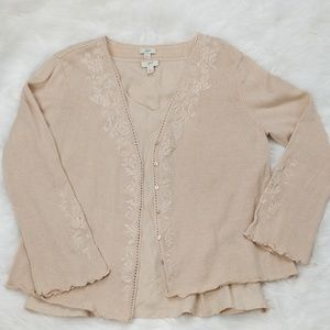 J Jill Linen Blend Embroidered Cardigan Set, L